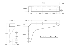 5x8 2D standard bracket drawing