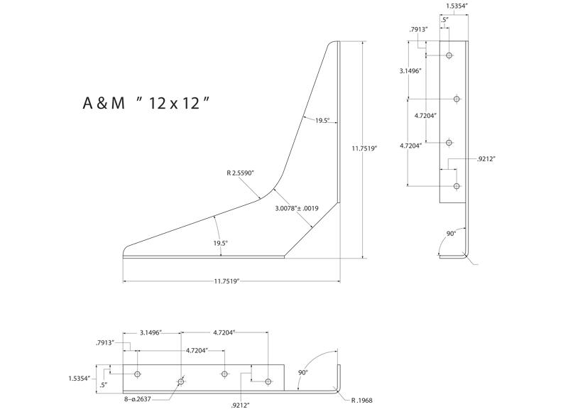 2 D Standard Bracket Drawings A Amp M Hardware