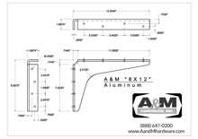 aluminum 8x12 2D standard bracket drawing