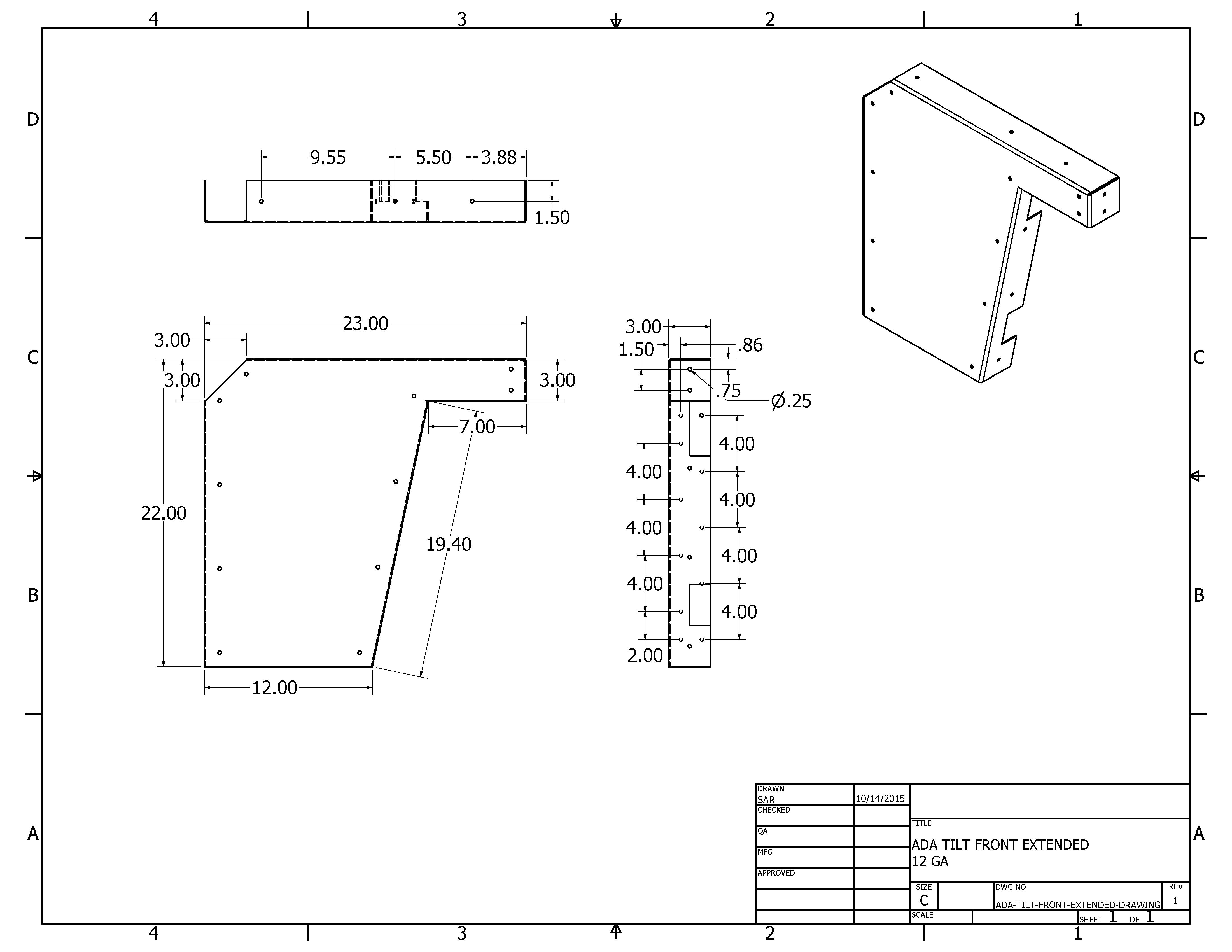 2 D Ada Bracket Drawings A Amp M Hardware