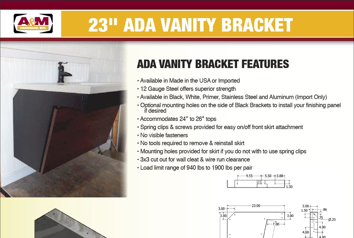 23 inch ADA vanity bracket price list
