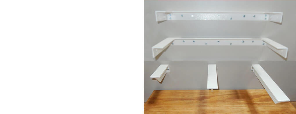 Various sized floating shelves