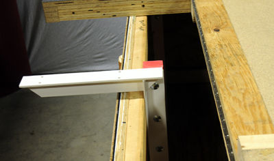 a concealed bracket installed and ready to support a countertop