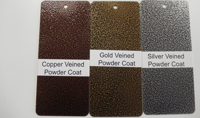 powder coat samples showing copped veined powder coat, gold veined powder coat, silver veined powder coat