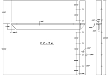 ec-24 2D extended concealed bracket drawing