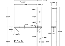 ec-9 2D extended concealed bracket drawing
