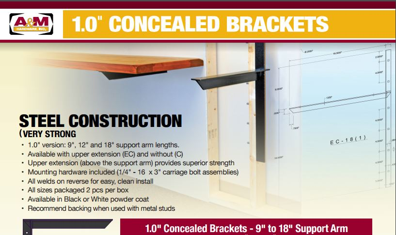 1 inch concealed bracket pricing catalog cover