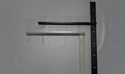 a set of black and white concealed flat brackets