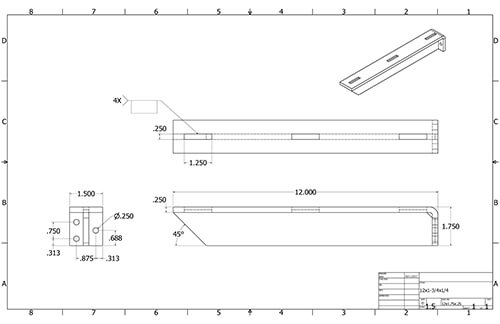 Floating Shelf 12in Bracket measurements