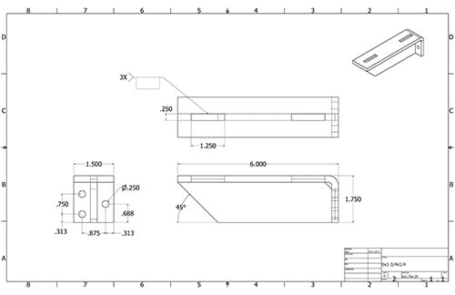 Floating Shelf 6in Bracket measurements