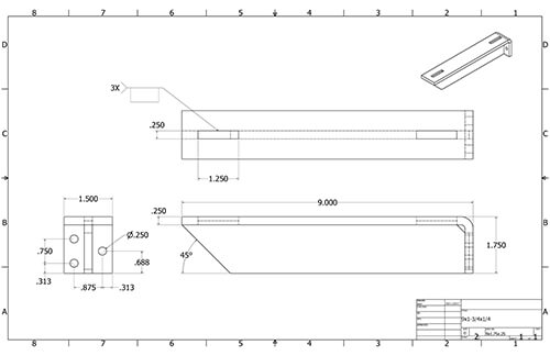 Floating Shelf 9in Bracket measurements