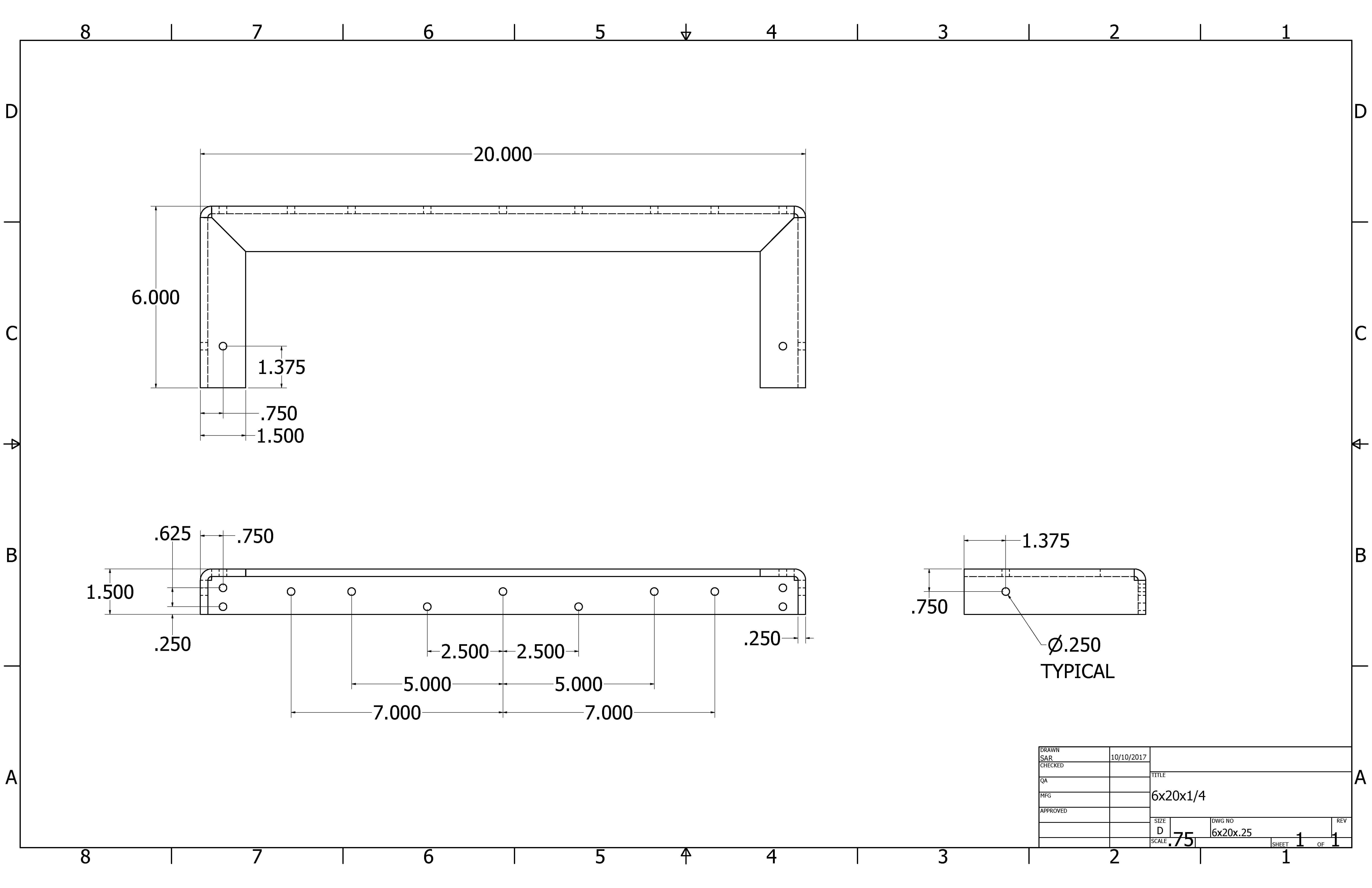2-D Floating & Hidden Shelf Bracket Drawings | A&M Hardware