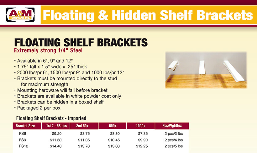 Floating and hidden brackets price list