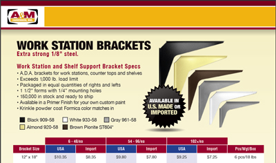 workstation bracket size & price list