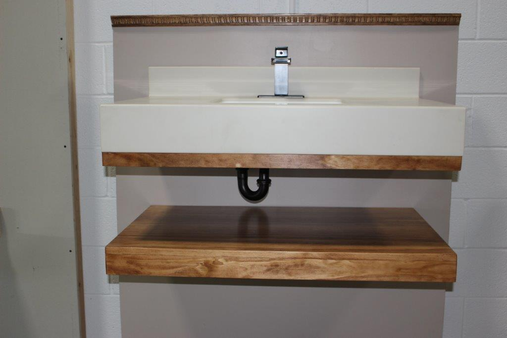 A Wide Shot Of A Sink And Table Held Up Using The Floating Vanity Bracket  Showing