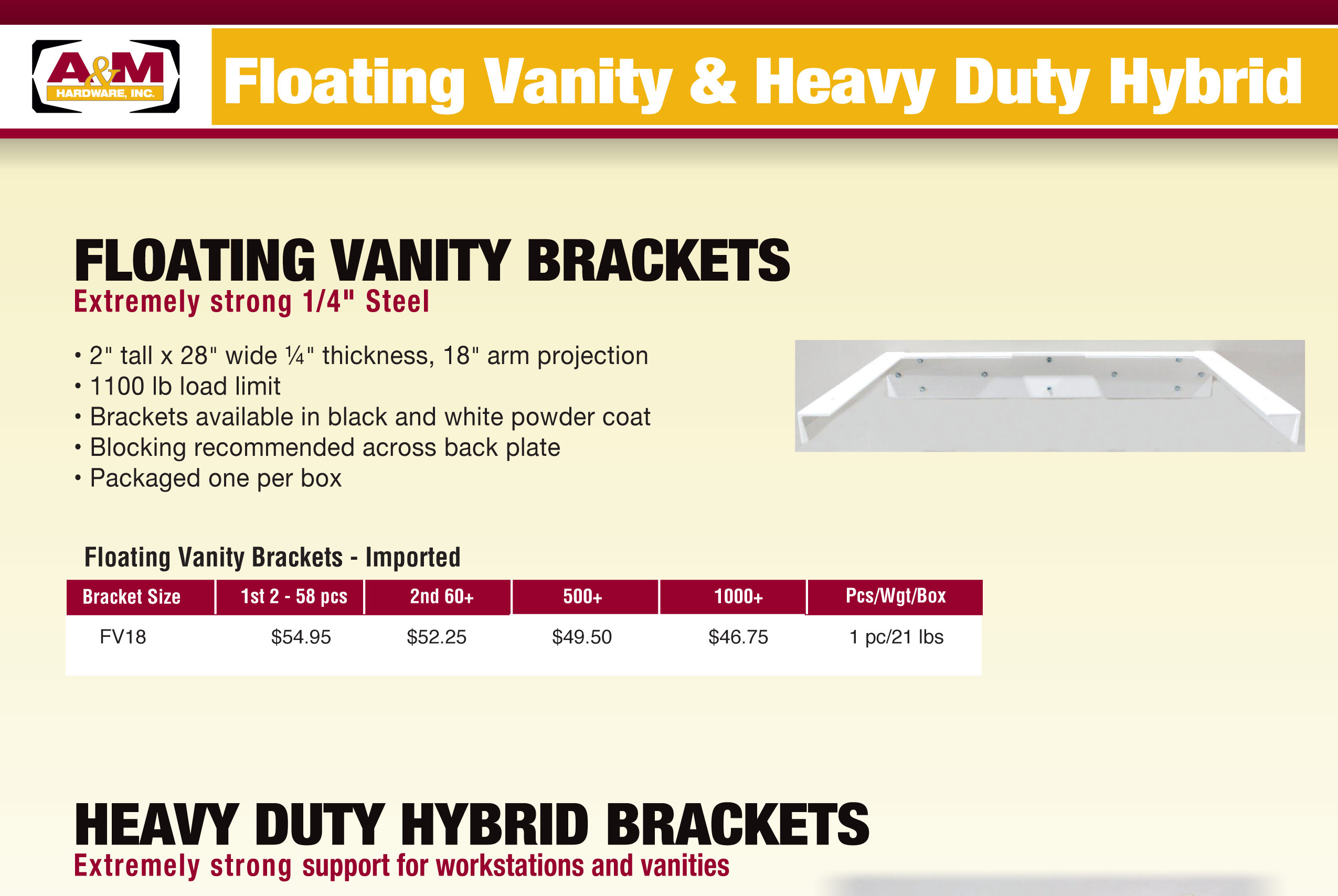 Floating Vanity & Heavy–Duty Hybrid Bracket Price List